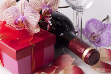 Wine, gift and orchid
