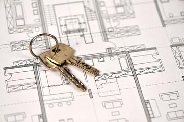 Bauplan, Schlüssel, Architektur, Hausbau, Wohneigentum