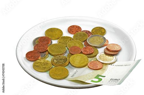canvas print picture Münzen auf Teller