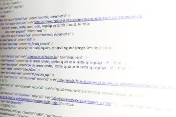 HTML code on computer monitor