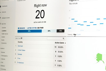 Web analytics data on computer monitor