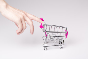 pink shopping cart in woman hand