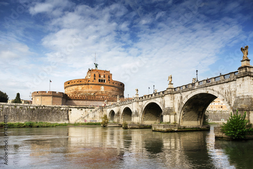 Saint Angel Castle and bridge over the Tiber river in Rome - 74344182