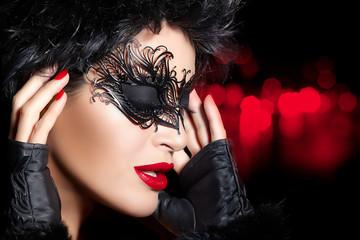 Creative Artistic Masquerade Makeup. High Fashion Portrait