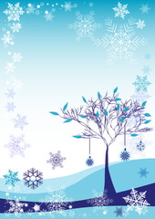 Winter background with snow tree and different snowflakes 2015