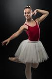 Woman Ballerina Ballet Dancer Dancing On Black Background