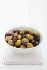 mixed olives antipasto in dish