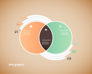 Two circle infographic illustration with place for your text.