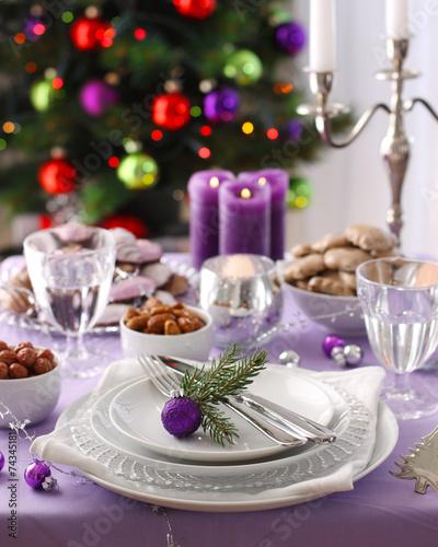 Papiers peints Table preparee Christmas table decoration