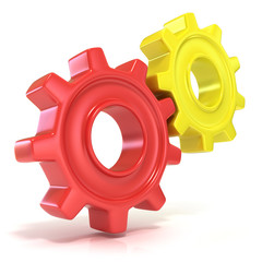 Red and yellow gear wheels, 3d concept isolated no white backgro
