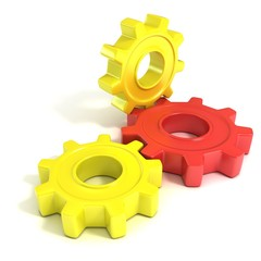 Three gear wheels, 3D concept, isolated no white background