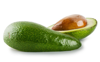 Cut and whole avocado