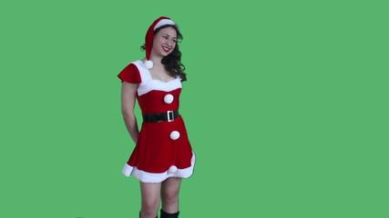 Santa Girl happy green screen