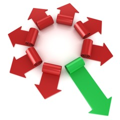 Red spiral arrows directed of the center, with one green arrows