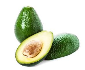 Avocado isolated on white  background. Fresh green slice  Avocad