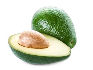 ..Avocado isolated on white background. Fresh green Avocado frui