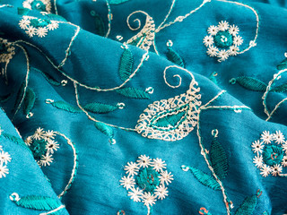 Blue fabric with paisley ornament