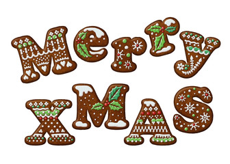 Merry Christmas gingerbread cookies letters isolated