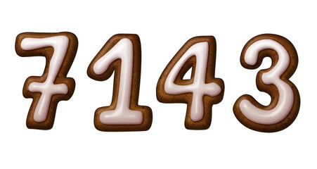 gingerbread cookies numbers illustration isolated