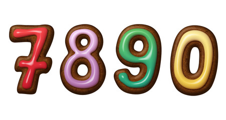 Christmas gingerbread cookies numbers isolated
