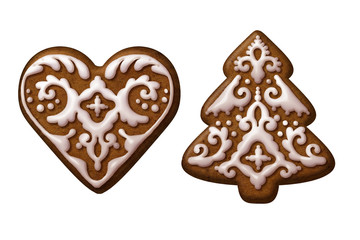 Christmas tree heart gingerbread cookies isolated