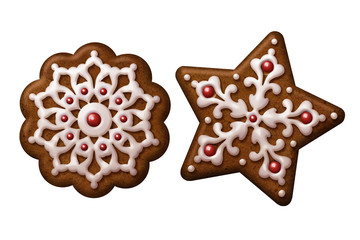 Christmas gingerbread cookies star snowflake isolated