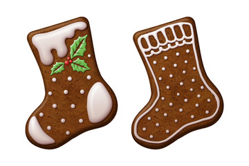 Christmas gingerbread cookies socks stocking isolated