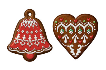 Christmas gingerbread cookies heart bell isolated