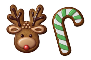 Christmas gingerbread cookies reindeer candy cane