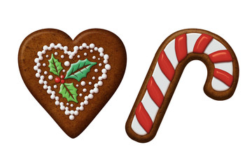 Christmas gingerbread cookies heart candy cane