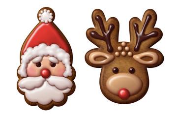 Christmas gingerbread cookies reindeer Santa Claus