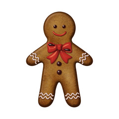 Christmas gingerbread man cookie isolated illustration