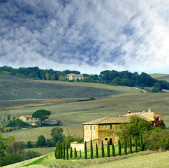 Autumn landscape of the Val d'Orcia. Tuscany, Italy, UNESCO WH