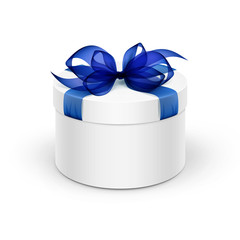 White Round Gift Box with Blue Ribbon and Bow