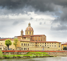 River Arno, church San Frediano in Castello of Florence, Tuscany
