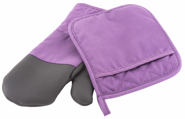 a kitchen glove and a towel isolated