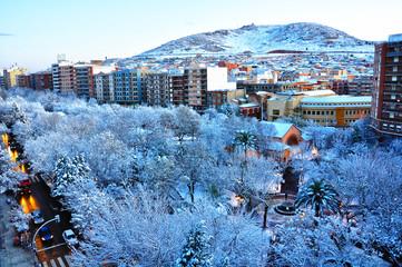 Puertollano, nieve en el Paseo de San Gregorio, invierno
