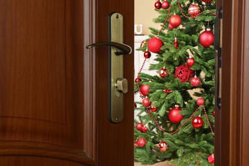 Open door with decorated Christmas tree in room