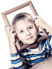 Little smiling boy child portrait