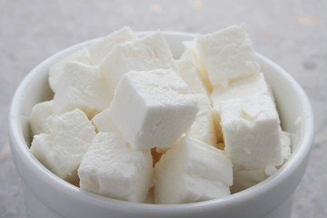 feta goats cheese cubes in dish