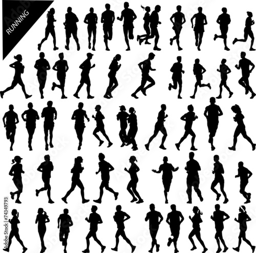 people running big collection - vector - 74349793
