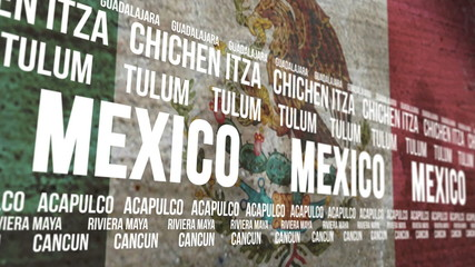 Mexico Flag Tourism Attractions Scrolling