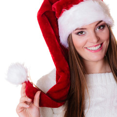 Woman santa helper hat portrait