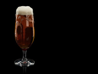 Glass with foamy beer