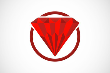 diamond red abstract geometry logo vector