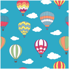 Colored hot air balloons seamless pattern