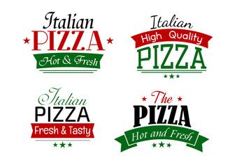 Various italian pizza labels set