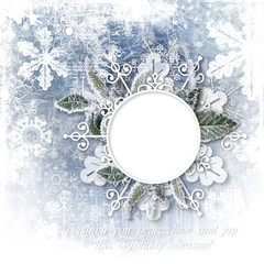 Christmas background with snow-frame and snowflakes