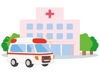 個人病院と救急車