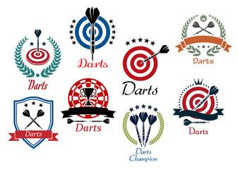 Darts sporting emblems, symbols and icons